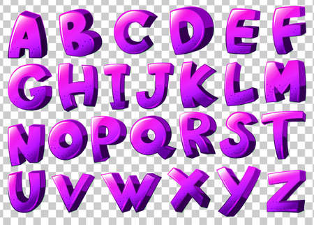 letter c: Illustration of the purple letters of the alphabet