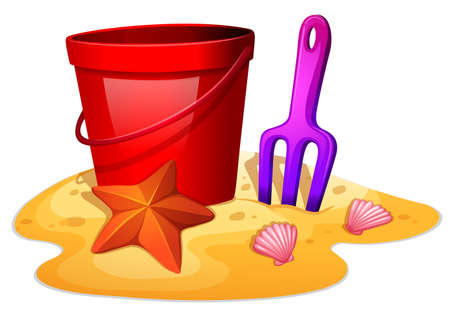 starfish on beach: Illustration of the things needed to form a sand castle on a white background Illustration