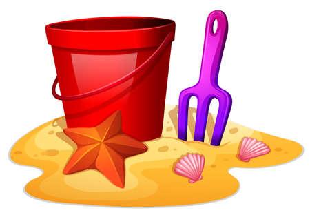 castle sand: Ilustraci�n de las cosas que se necesitan para formar un castillo de arena sobre un fondo blanco Vectores
