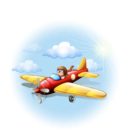 jetplane: Illustration of a person riding on a plane on a white background