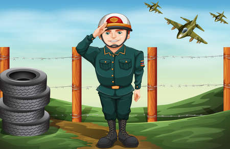 jetplane: Illustration of a brave soldier doing a hand salute Illustration