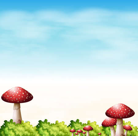 macroscopic: Illustration of a garden with red mushrooms