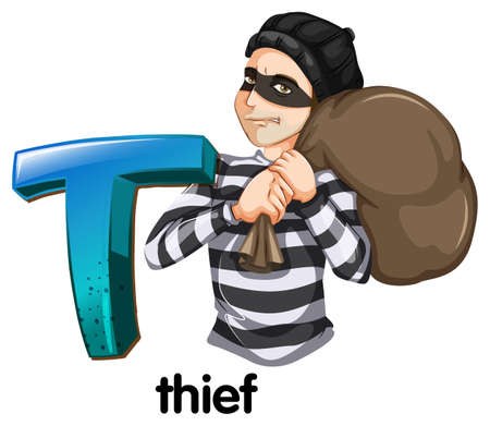 robbery: Illustration of a letter T for thief on a white background