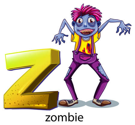 labelling: Illustration of a letter Z for zombie on a white background
