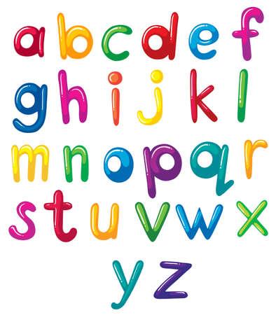 Ilustración de las letras minúsculas del alfabeto en un fondo blanco