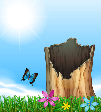 papilionidae: Illustration of a stump of a tree