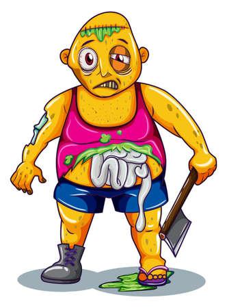 carribean: Ilustraci�n de un zombi con un arma en un fondo blanco Vectores