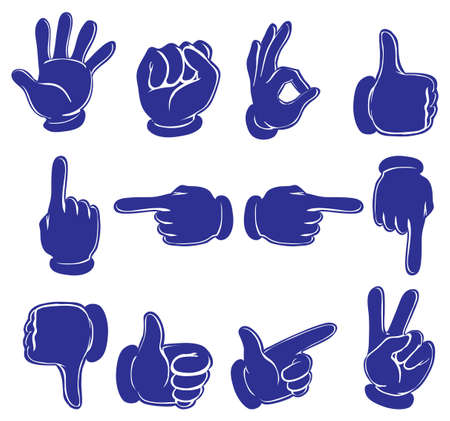 disapprove: Illustration of the hands in blue colors on a white background
