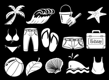 sandal tree: Illustration of the things used during summer on a black background Illustration
