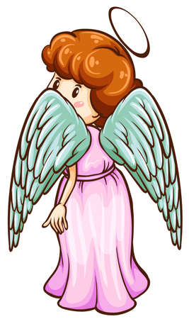 hindwing: Illustration of a simple sketch of an angel on a white background  Illustration
