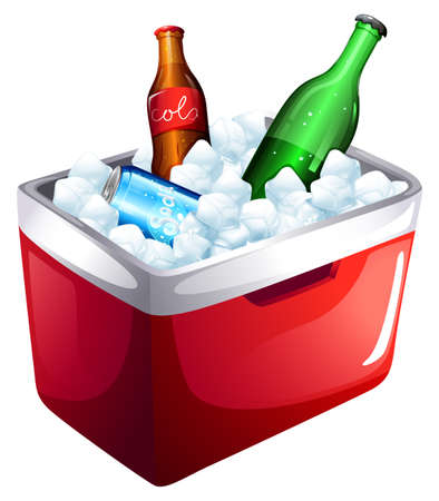 Illustration of a cooler with softdrinks on a white background
