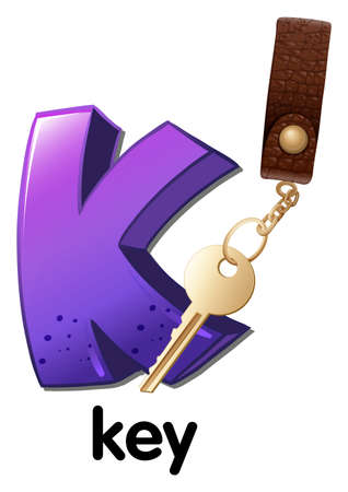 keycard: Illustration of a letter K for key on a white background  Illustration