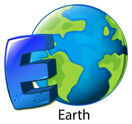 vowel: Illustration of a letter E for Earth on a white background