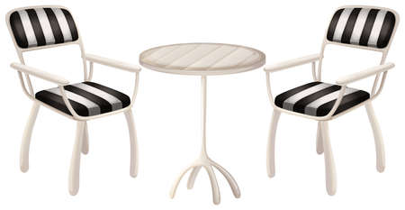 Illustration of a table and two chairs on a white background