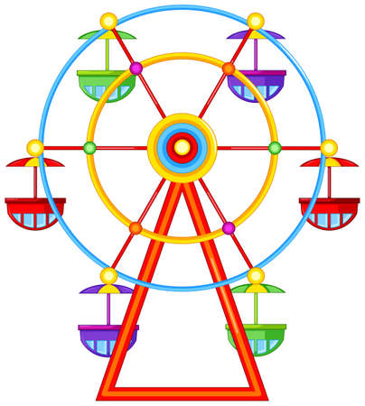 Illustration of a ferris wheel ride on a white background