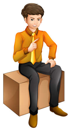 Illustration of a man sitting down on a white background  Иллюстрация