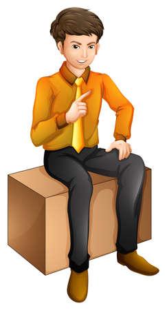Ilustración de un hombre sentado sobre un fondo blanco