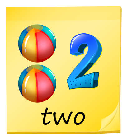bounces: Illustration of the number two on a white background