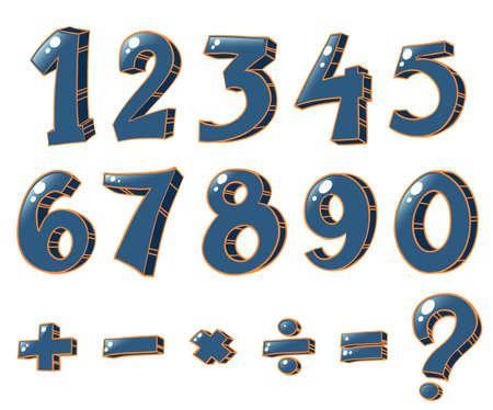 operations: Illustration des chiffres num�riques et des op�rations math�matiques sur un fond blanc