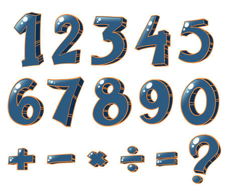 sum: Illustration of the numeric figures and mathematical operations on a white background