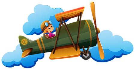 jetplane: Illustration of a boy on a plane on a white background
