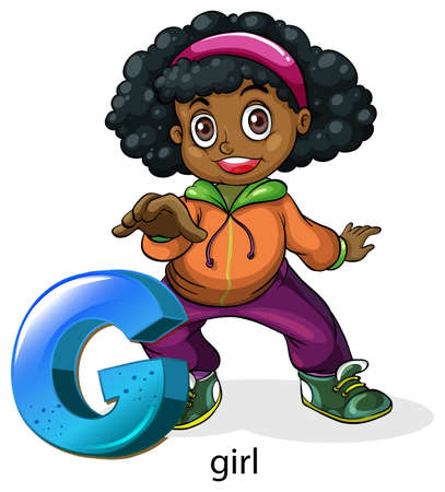 curly hair child: Illustration of a letter G for girl on a white background  Illustration