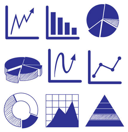 incremental: Illustration of the different graphs in blue color on a white background
