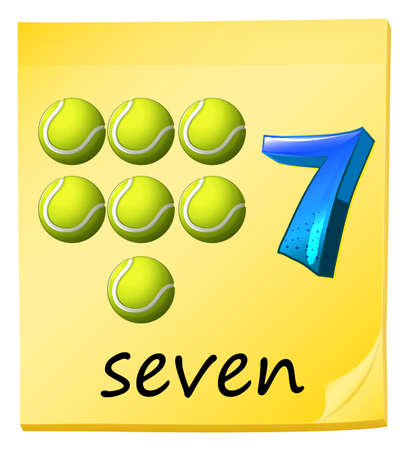 curvilinear: Illustration of the number seven on a white background