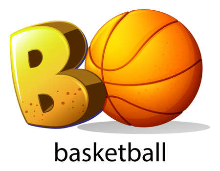 capitalized: Illustration of a letter B for basketball on a white background