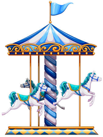 Illustration of a merry-go-round ride on a white background  Vector