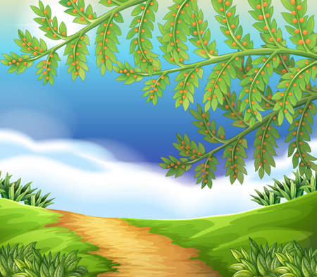 interactions: Illustration of a view of nature Illustration