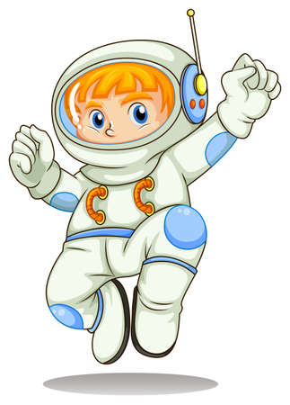 Illustration of a young astronaut on a white background  Vector