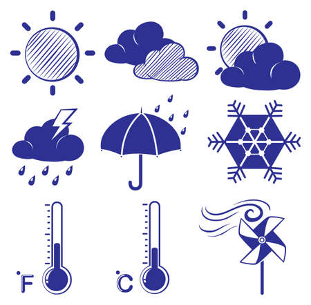 Illustration of the different weather conditions on a white background  Vector