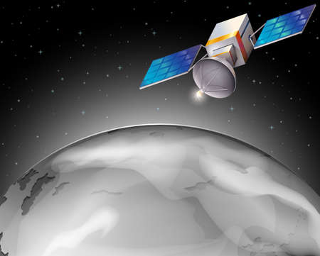 outerspace: Illustration of a satellite in the outerspace