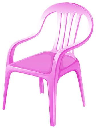 ergonomie: Illustration eines rosa Stuhlm�bel auf wei�em Hintergrund