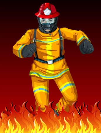 voiture de pompiers: Illustration d'un pompier Illustration