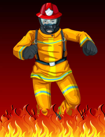 gaseous: Illustration of a fireman