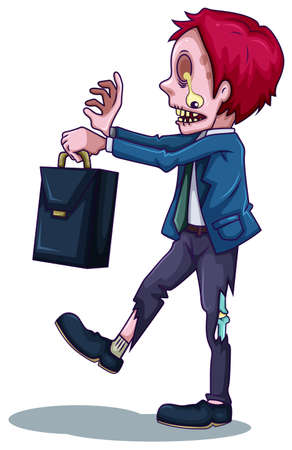 dangerous work: Illustration of a male zombie with a bag on a white background