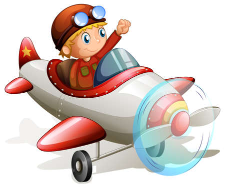 Illustration of a vintage plane with a pilot on a white background