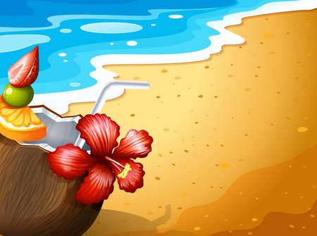 sip: Ilustraci�n de una playa y una bebida refrescante Vectores