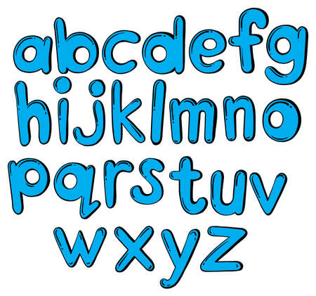 u k: Illustration of the letters of the alphabet in blue color on a white background  Illustration