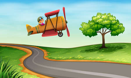 winding: Illustration of a plane above the winding road