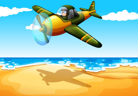 jetplane: Illustration of an aircraft at the beach