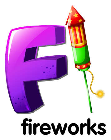 Illustration of a letter F for fireworks on a white background