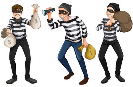 felony: Illustration of the three thieves on a white background