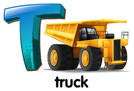 capitalized: Illustration of a letter T for truck on a white background