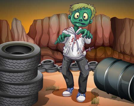 stabbed: Ilustraci�n de un zombie de miedo en el desierto