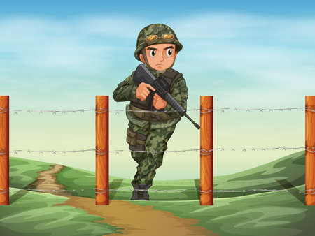 Illustration of a brave soldier Vector