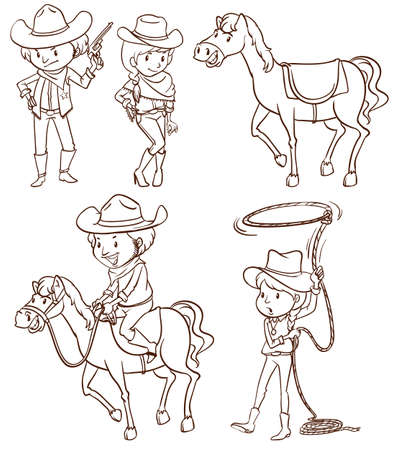 Illustration of the simple sketches of a cowboy on a white background  Vector