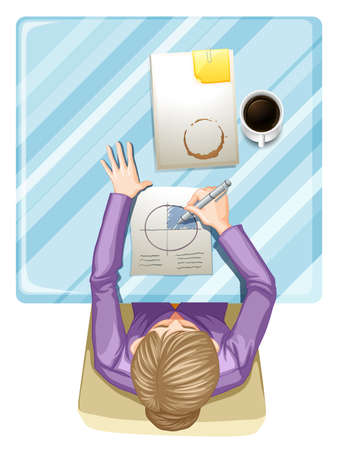 Illustration of a topview of a woman writing on a white background